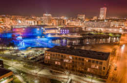 view of downtown south bend indiana at Central High Stephenson mills apartments rooftop